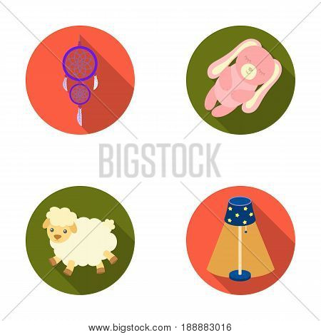 Dream catcher, soft toy sheep and rabbit, floor lamp. Rest and sleep set collection icons in flat style vector symbol stock illustration .