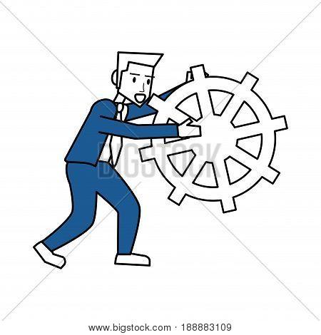 Flat line man holding rudder icon design. Vector illustration.