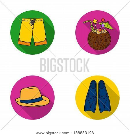 Swimming trunks, cocktail with coconut, panama and flippers. Surfing set collection icons in flat style vector symbol stock illustration .