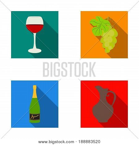 A glass of red wine, champagne, a jug of wine, a bunch. Wine production set collection icons in flat style vector symbol stock illustration .