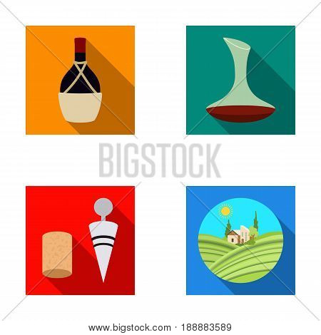 A bottle of wine in a basket, a gafine, a corkscrew with a cork, a grape valley. Wine production set collection icons in flat style vector symbol stock illustration .