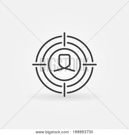 Face under crosshair icon. Vector minimal target or headhunter symbol in thin line style
