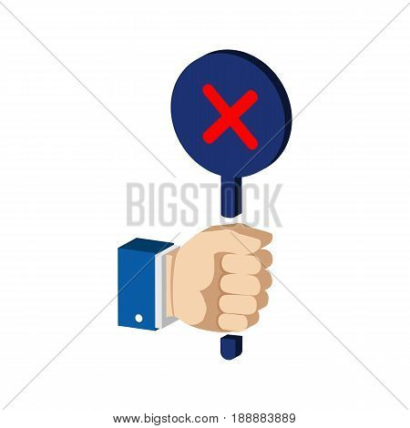 Hand With False, Reject Sign. Flat Isometric Icon Or Logo. 3D Style Pictogram For Web Design, Ui, Mo