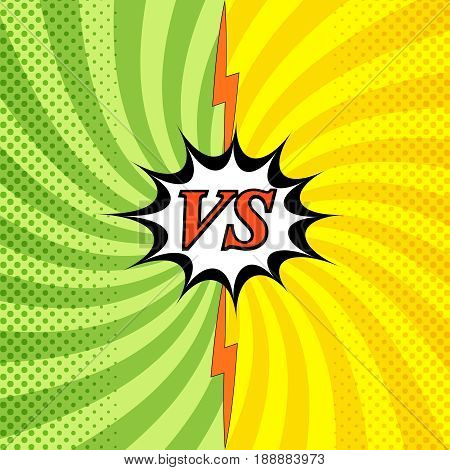 Colorful confrontation light background with two opposite sides radial halftone and lightning effects in comic style. Vector illustration