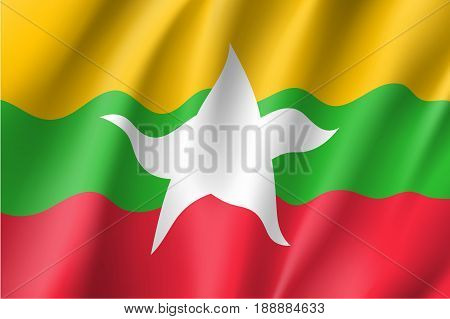Original and simple Union of Myanmar or Burma waving flag isolated vector in official colors and Proportion CorrectlyThe Myanmar or Burma is a member of Asean Economic Community AEC .