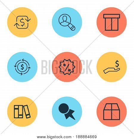 Commerce Icons Set. Collection Of Recurring Payements, Spectator, Rich And Other Elements. Also Includes Symbols Such As Label, Rebate, Badge.