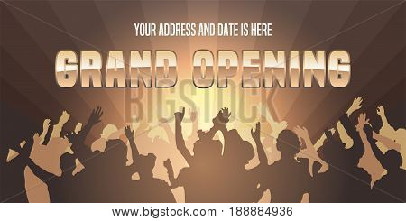 Vector dancing people with grand opening advertising sign. Store opening soon design element for poster or banner