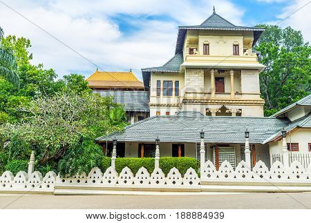 The view on beautiful edifice located next to the Sacred Relic Tooth Temple in Kandy Sri Lanka