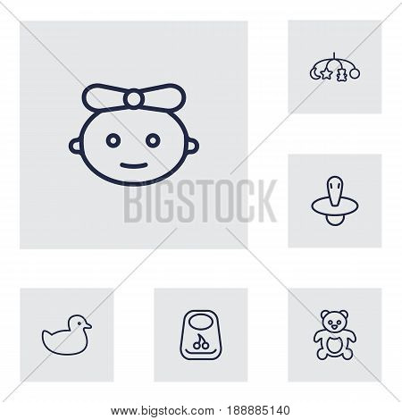 Set Of 6 Child Outline Icons Set.Collection Of Bib, Baby, Teddy And Other Elements.