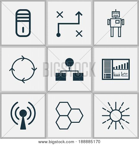 Machine Learning Icons Set. Collection Of Mainframe, Radio Waves, Recurring Program And Other Elements. Also Includes Symbols Such As Wi-Fi, Toy, Brightness.