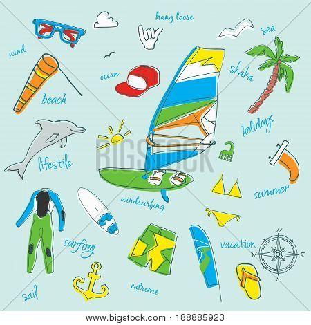 Vector set of windsurfing icons. Board with a sail, wetsuit, surfboard, wind, sail, . All for lovers of active holidays at sea and active lifestyle. Family summer holiday.