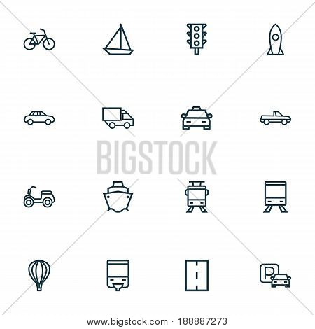 Shipment Outline Icons Set. Collection Of Pickup, Traffic Light, Balloon And Other Elements. Also Includes Symbols Such As P, Pickup, Traffic.