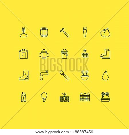 Gardening Icons Set. Collection Of Sun Power, Root, Floweret And Other Elements. Also Includes Symbols Such As Rake, Floret, Trowel.