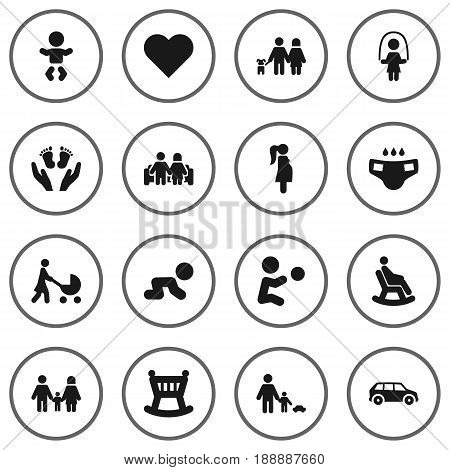 Set Of 16 Relatives Icons Set.Collection Of Perambulator, Cot, Look After And Other Elements.