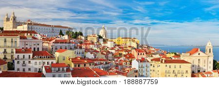 Lisbon Cityscape, View Of The Alfama Downtown