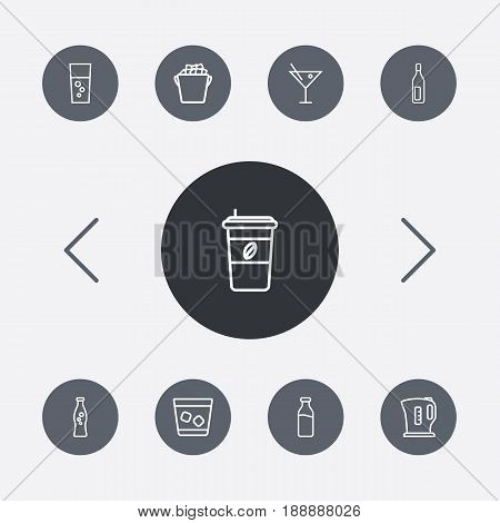 Set Of 9 Beverages Outline Icons Set.Collection Of Fizzy Water, Cocktail, Bottle And Other Elements.