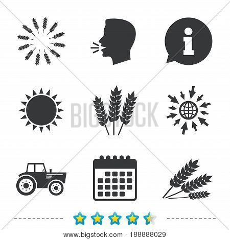 Agricultural icons. Wheat corn or Gluten free signs symbols. Tractor machinery. Information, go to web and calendar icons. Sun and loud speak symbol. Vector