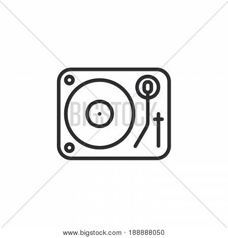 Dj vinyl turntable line icon outline vector sign linear pictogram isolated on white. logo illustration