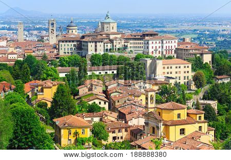 Bergamo cityscape view of the downtown Italy