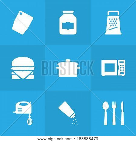 Set Of 9 Culinary Icons Set.Collection Of Kitchen Rasp, Cutting Surface, Electronic Oven And Other Elements.