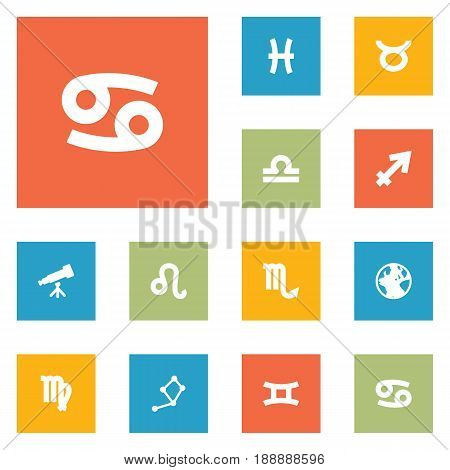 Set Of 12 Astrology Icons Set.Collection Of Bull, Lion, Fishes And Other Elements.