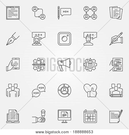 Blogging icons set - vector collection of blog concept symbols or design elements in thin line style
