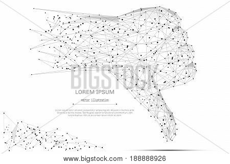 Abstract mash line and point hand with thumb down on white background with an inscription. Starry sky or space, consisting of stars and the universe. Vector business illustration