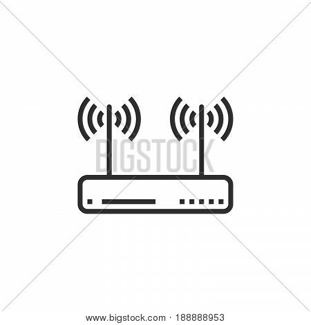 Wifi Router, Wireless Dsl Modem Line Icon, Outline Vector Sign, Linear Pictogram Isolated On White.