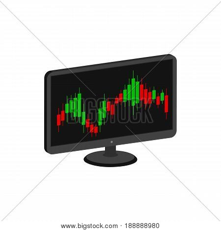 Display With Candlestick Trading Chart, Stock Market Symbol. Flat Isometric Icon Or Logo. 3D Style P