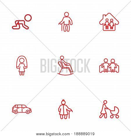Set Of 9 Relatives Outline Icons Set.Collection Of Crawling Kid, Couple, Parents And Other Elements.