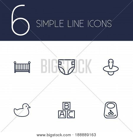 Set Of 6 Baby Outline Icons Set.Collection Of Crib, Rubber, Bib And Other Elements.