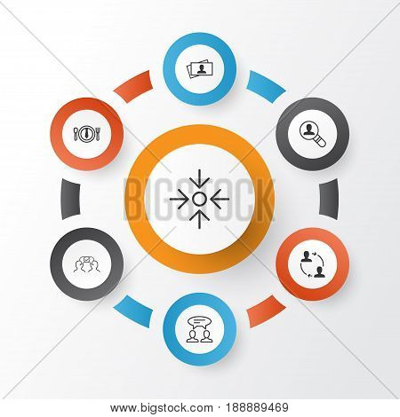 Icons Set. Collection Of Business Aim, Dialogue, Dinner And Other Elements. Also Includes Symbols Such As Target, Project, Discussion.