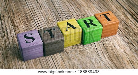 Word Start On Wooden Blocks. 3D Illustration
