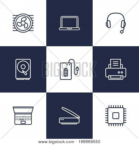 Set Of 9 Computer Outline Icons Set.Collection Of Notebook, Cooler, Headphone And Other Elements.