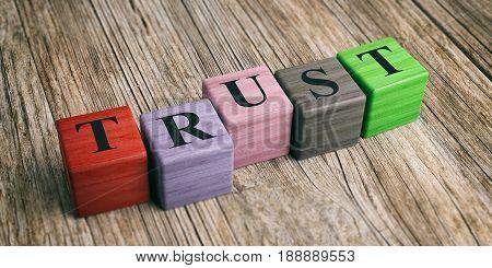 Word Trust On Wooden Blocks. 3D Illustration