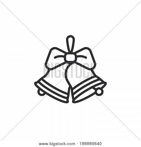 Christmas Jingle Bells With Bow Line Icon, Outline Vector Sign, Linear Pictogram Isolated On White.