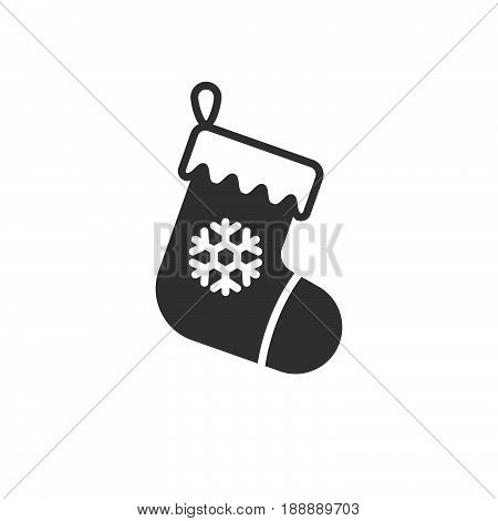 Christmas Stocking Icon Vector, Filled Flat Sign, Solid Pictogram Isolated On White, Logo Illustrati