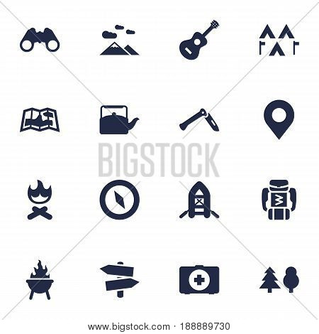 Set Of 16 Camping Icons Set.Collection Of Tree, Magnet Navigatior, Jackknife And Other Elements.