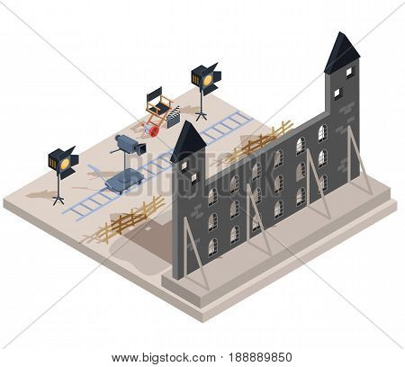 Vector isometric illustration of a film set with a set of filmmaking elements - the scenery of an old castle, a camera, lighting equipment, a director s chair, a loudspeaker, clapper