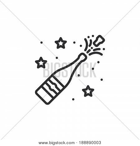 Champagne Pop Line Icon, Outline Vector Sign, Linear Pictogram Isolated On White. Logo Illustration