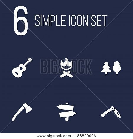 Set Of 6 Adventure Icons Set.Collection Of Signpost, Jackknife, Acoustic And Other Elements.
