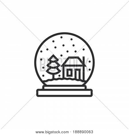 Snow Globe Line Icon, Outline Vector Sign, Linear Pictogram Isolated On White. Logo Illustration