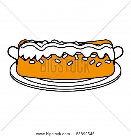 Hot dog flat line design over white background. Vector illustration.