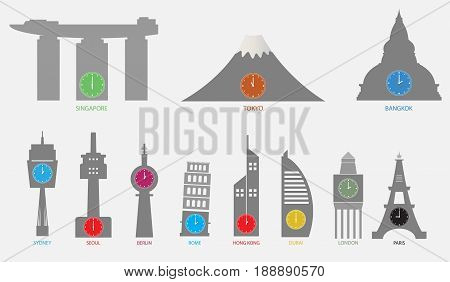 Time Zone World with Lanscape Landmark Vector art and illustration