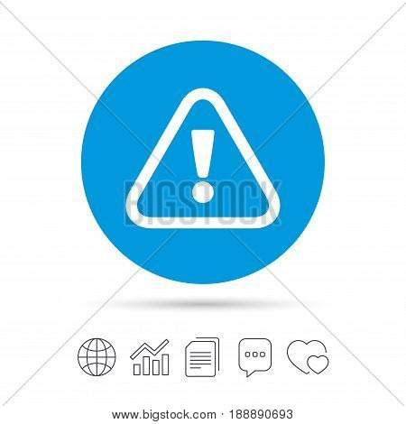 Attention sign icon. Exclamation mark. Hazard warning symbol. Copy files, chat speech bubble and chart web icons. Vector