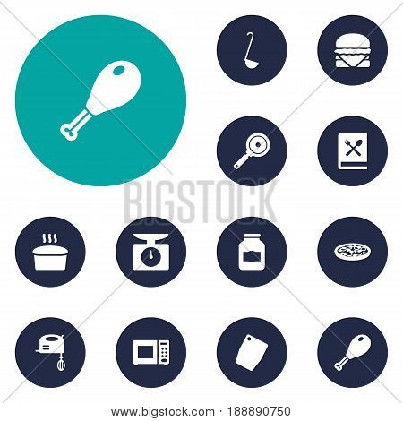 Set Of 12 Culinary Icons Set.Collection Of Cutting Surface, Poultry Foot, Sandwich Elements.