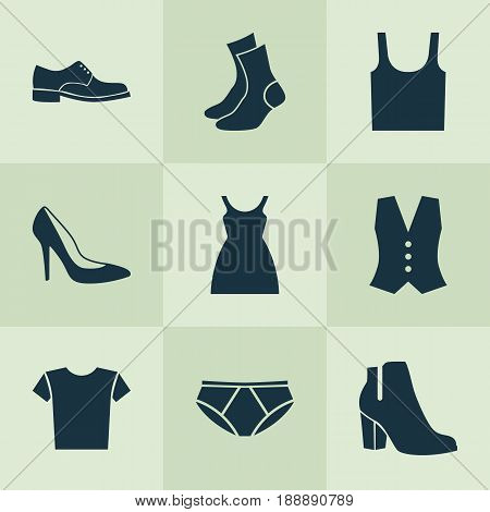 Garment Icons Set. Collection Of Casual, Elegance, Dress And Other Elements. Also Includes Symbols Such As Clothes, Shoes, Boots.