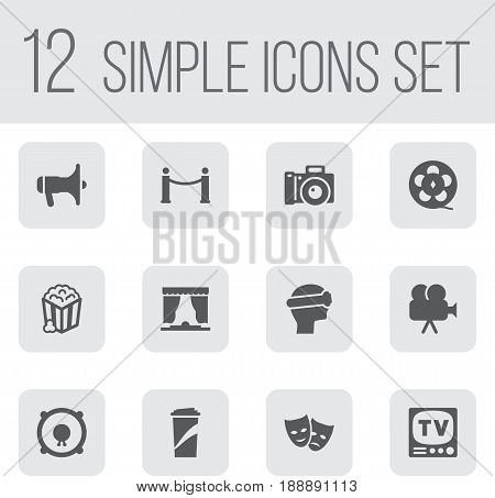 Set Of 12 Pleasure Icons Set.Collection Of Filmstrip, Cyberspace, Camera And Other Elements.