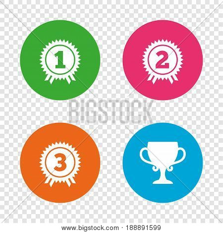 First, second and third place icons. Award medals sign symbols. Prize cup for winner. Round buttons on transparent background. Vector