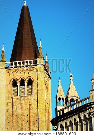 Duomo Cathedral Bell Tower and Baptistry, Parma, Emilia -Romagna, Italy